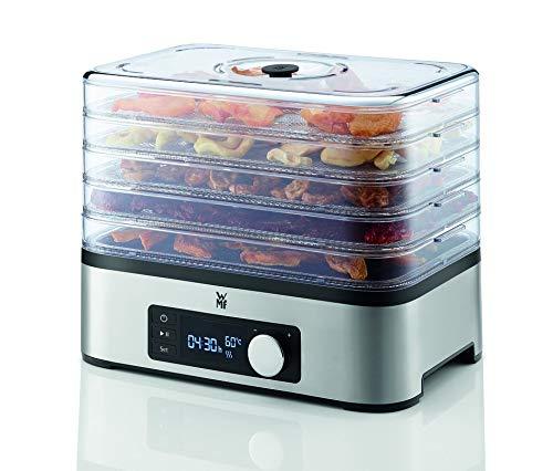 WMF Küchenminis Dörrautomat Edelstahl, Dörrgerät mit 5 Einlegefächer, 30-70°C, 24h-Timer, Obsttrockner, Dehydrator, 2 Boxen, Müsliriegelform, bpa-frei